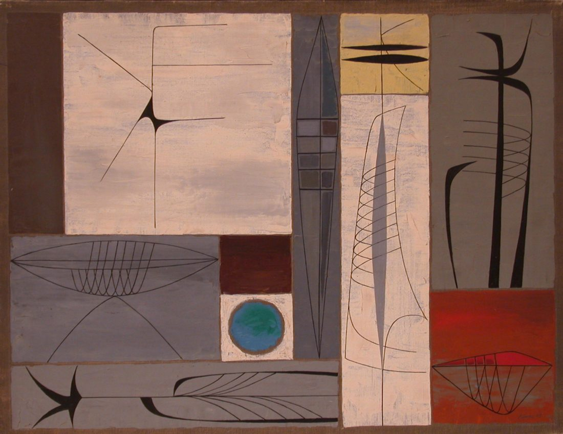 abstract painting with geometric forms and shapes, main colors grey, white, yellow, and black