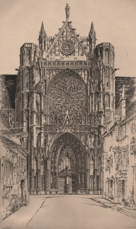 Photo of the front of a gothic style cathedral