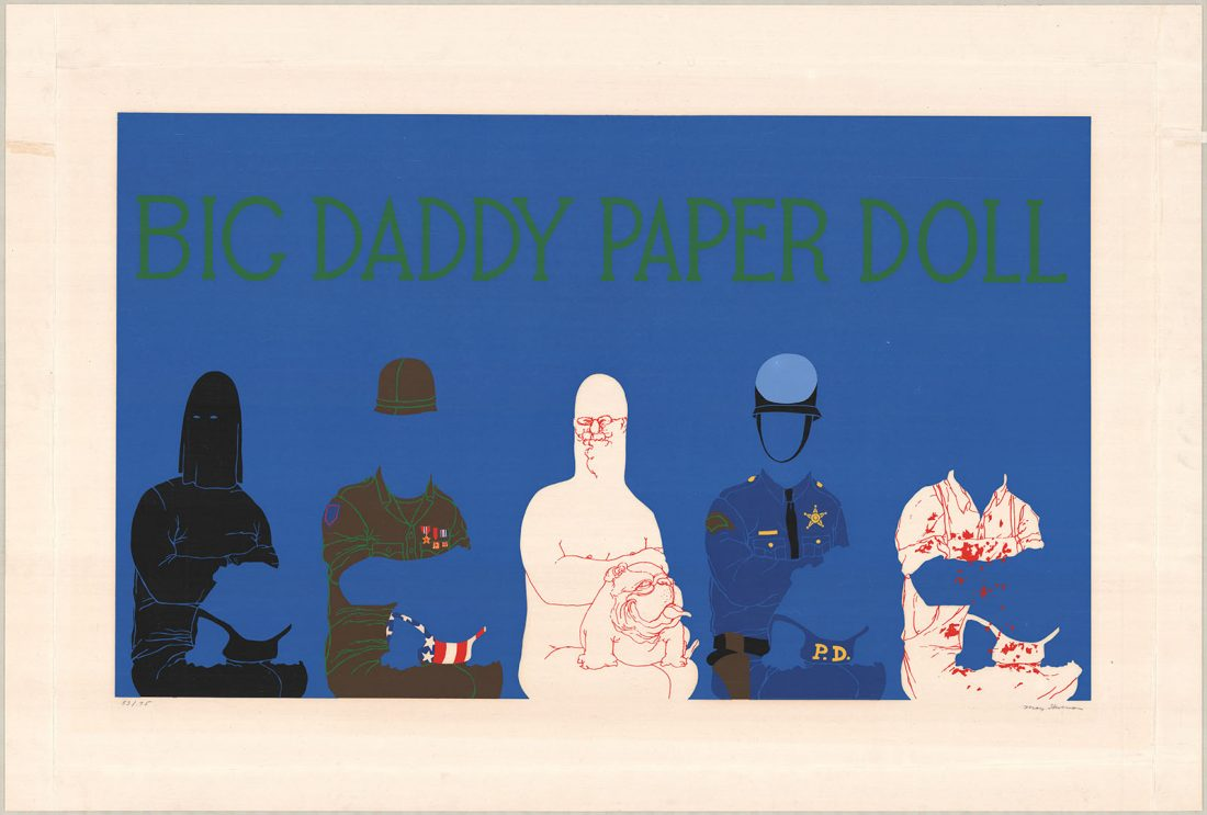 Blue background with five abstract figures, two on left are police, middle is a white colored figure and the right are police again
