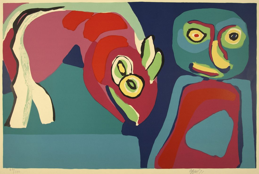 abstract print of a child and an animal. Both are drawn organically and have colors of red, blue, green, and yellow