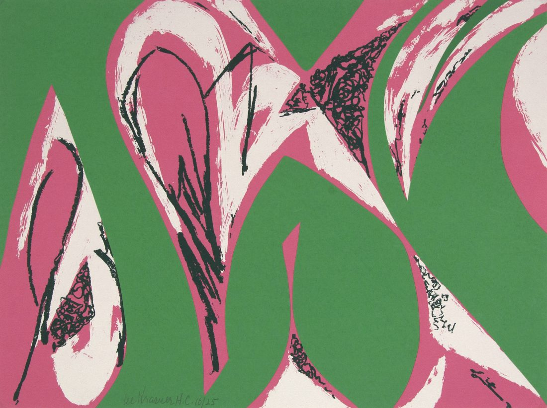 abstract artwork using greens, pinks, and whites in swirling lines