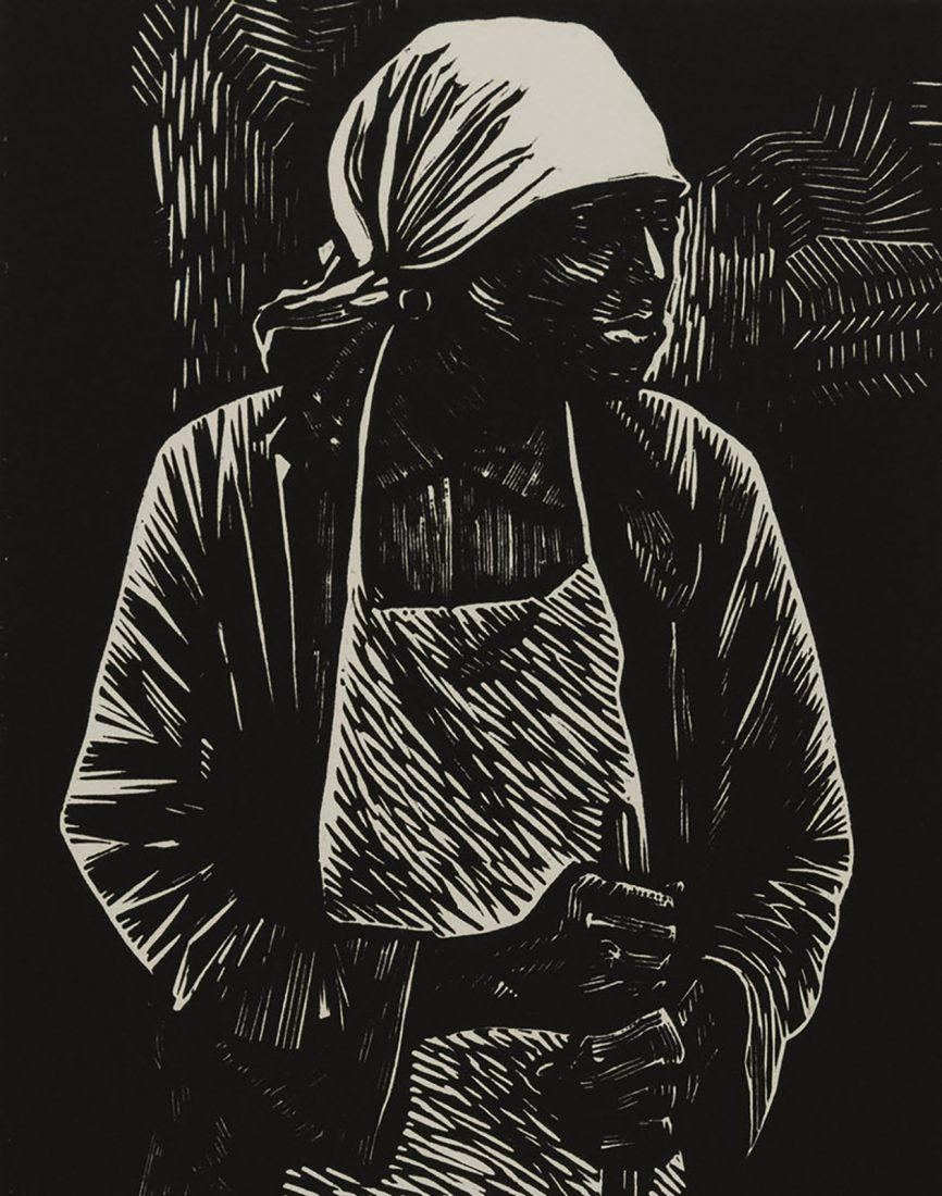 image of a Black older woman wearing a apron and a head wrapping
