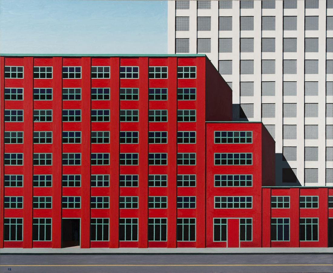 Painting of a red building with many windows in front of a taller white building