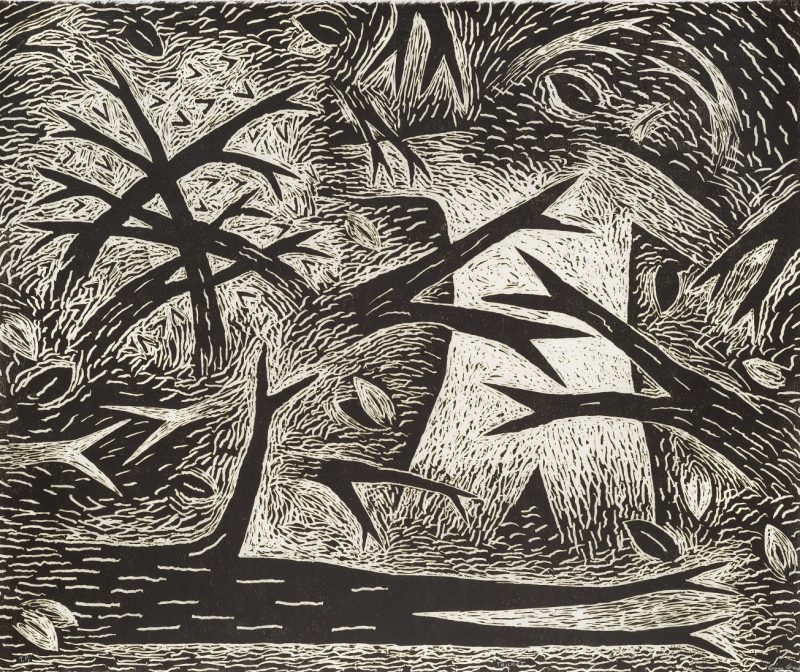Black and white print of vines