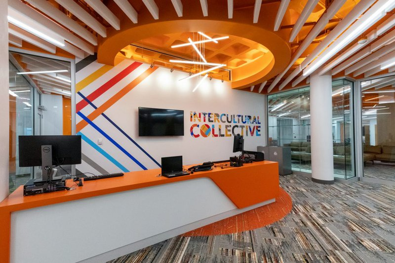 Image of the Schine Student Center Intercultural Collective entrance.