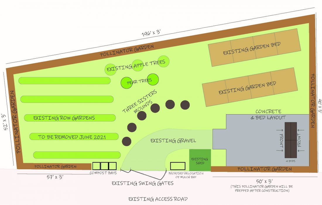 Schematic rendering of Pete's Giving Garden on South Campus