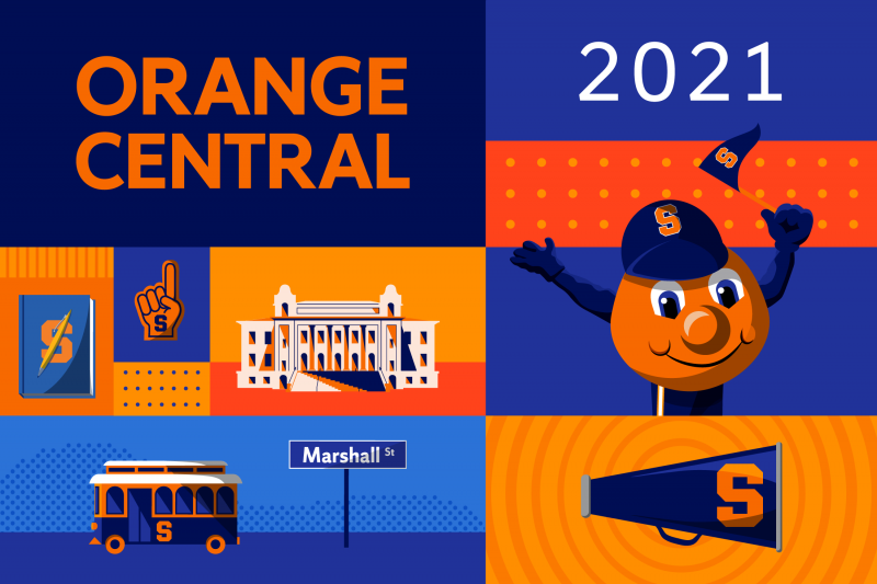 Graphics featuring the Otto the Orange holding a pennant, the 'Cuse Trolley and a sign for Marshall Street with text reading Orange Central 2021