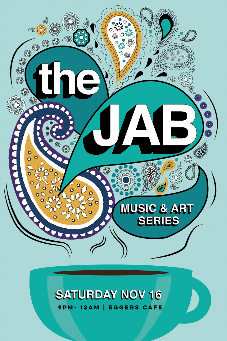Illustration of a coffee cup with steam rising. In text The Jab - Music & Art Series.