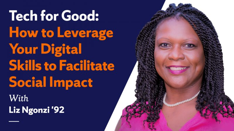 A photo of Liz Ngonzi with the title of the webinar,