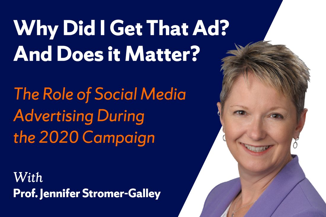 A photo of Jennifer Stromer-Galley with the title of the webinar,