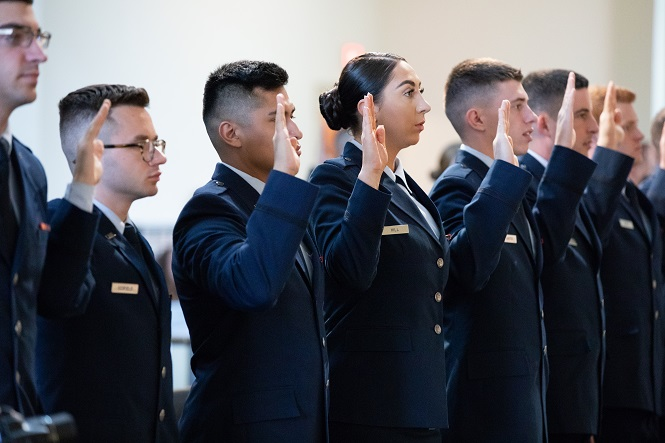 ROTC Cadets take their Oath of Office to become military officers