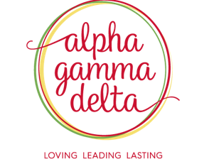 Alpha Gamma Delta logo, Loving Leading Lasting