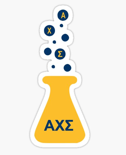 Alpha Chi Sigma greek letter on a graphic of a chemistry beaker with bubbles rising out of it