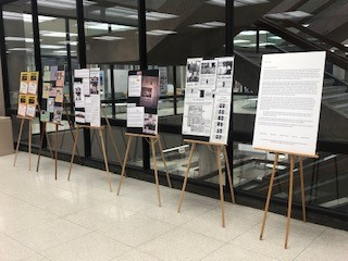 easel displays on first floor of Bird Library