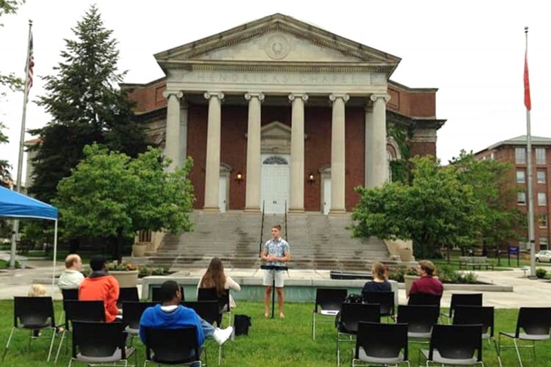 Students gather in front of Hendricks Chapel for worship service