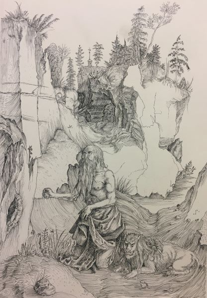 pencil sketch of old bearded man sitting next to a lion in the woods with a house in the background