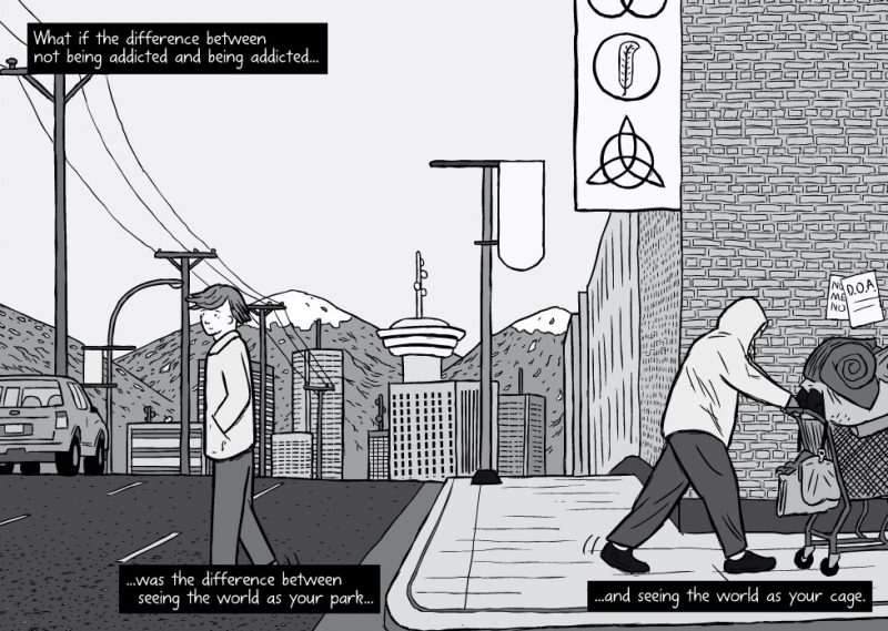Comic drawing of Dr. Bruce Alexander crossing the street in Vancouver, BC and homeless person pushing a shopping cart passing by. Text reads: