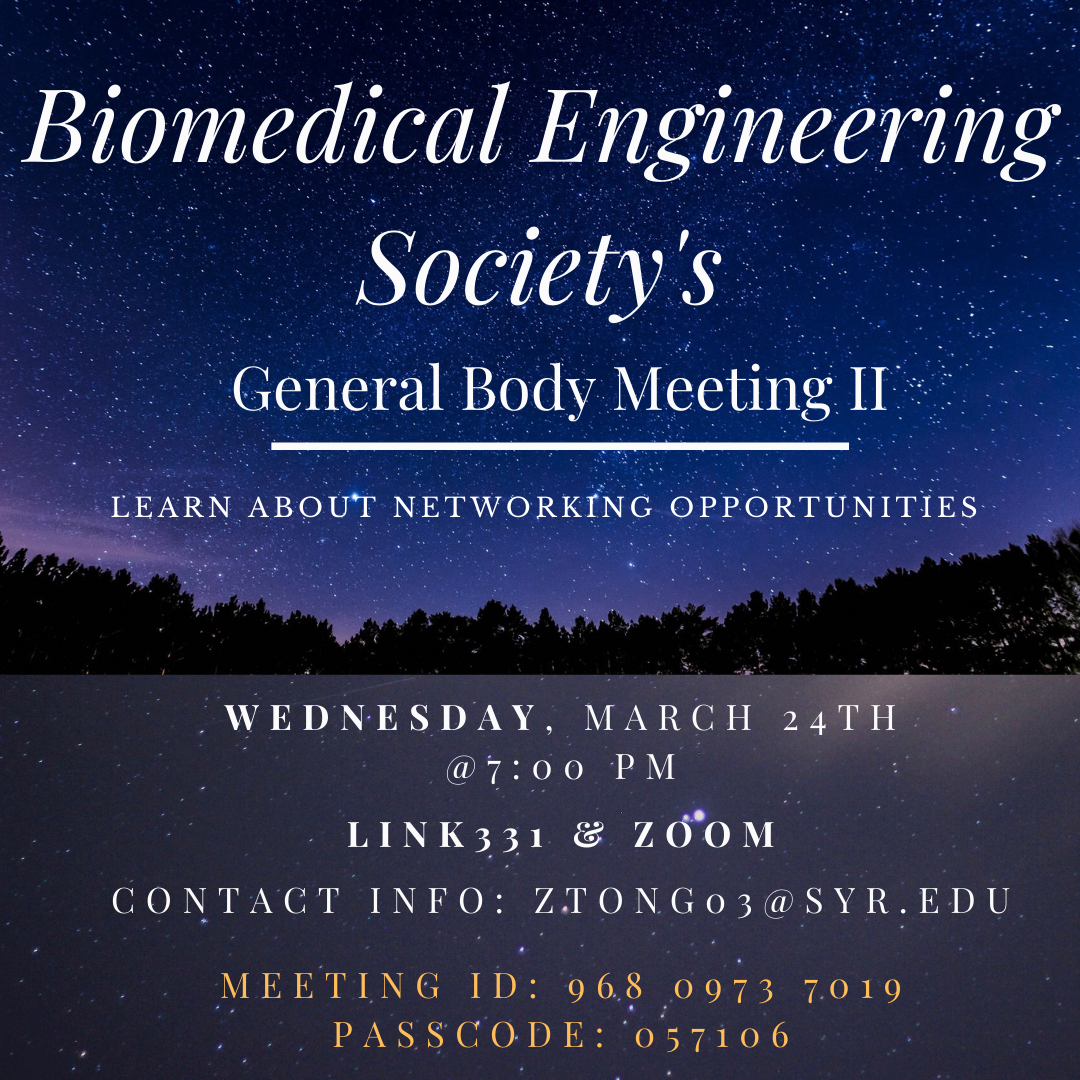 A good chance to meet more people in the bioengineering major.