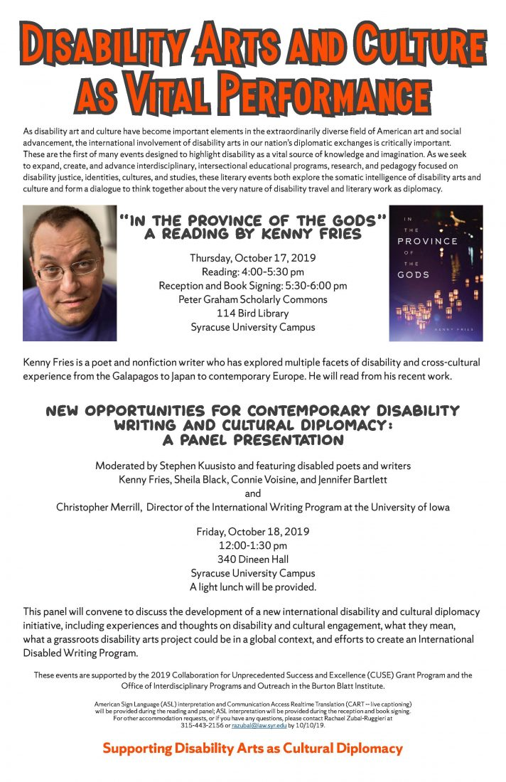 New Opportunities for Contemporary Disability Writing and Cultural Diplomacy: A Panel Presentation