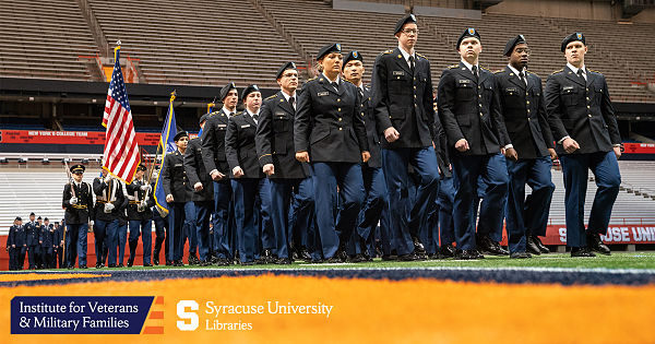 ROTC members marching in SU stadium