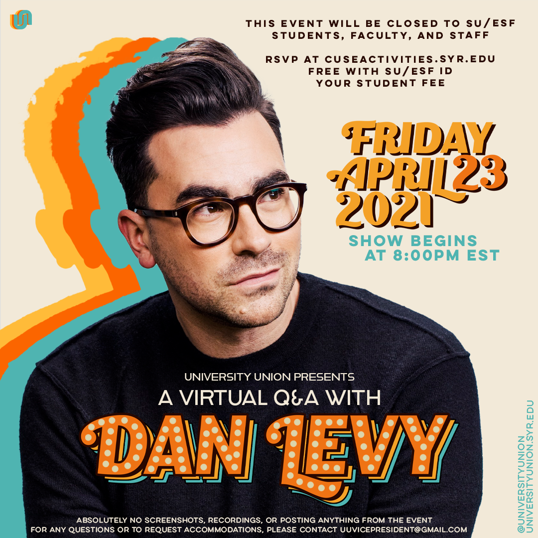 Picture of Dan Levy with time and description of the Q&A event