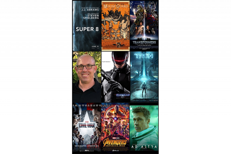 Collage of movie posters David Scott has worked on.