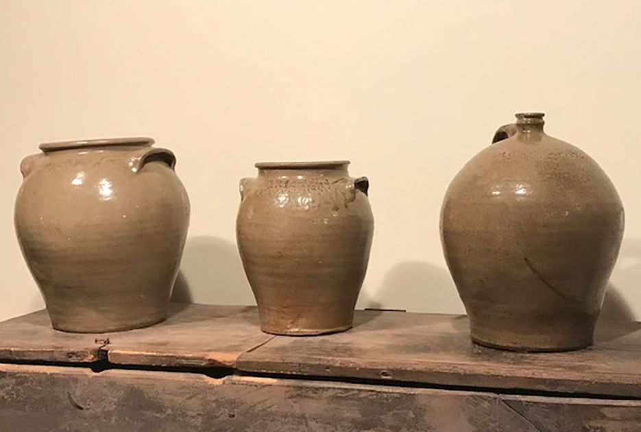 trio of pottery pieces created by David Drake
