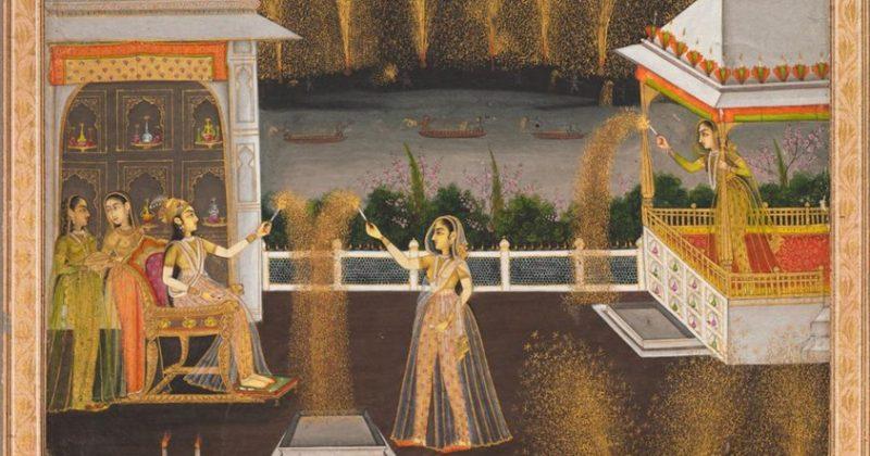 alt=antique illustration of diwali candle lighting