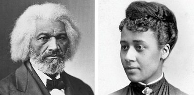 side-by-side black and white images of Frederick Douglass and Anna Julia Cooper