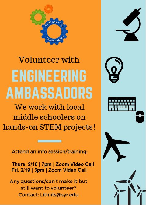 Flyer for Engineering Ambassadors trainings and times