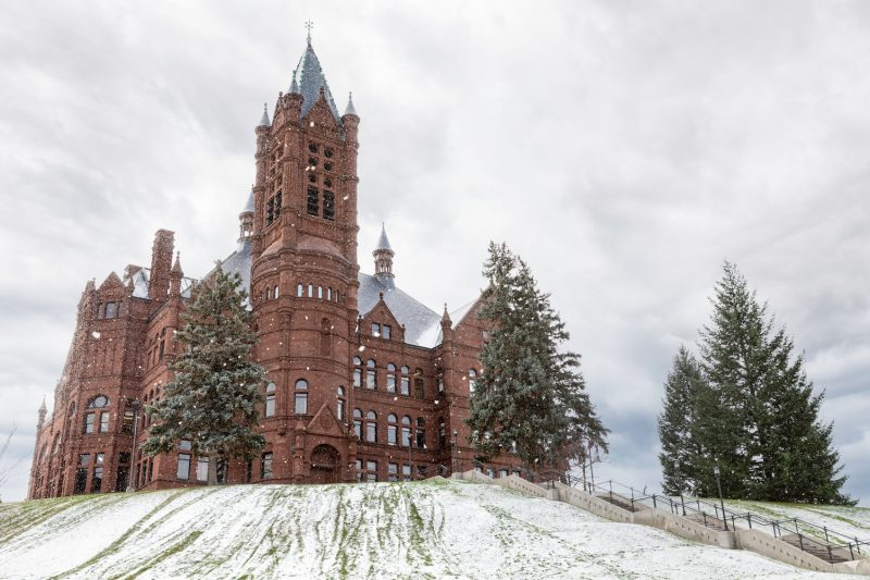 Crouse College in the Snow.