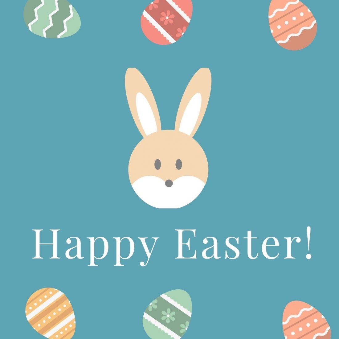 Happy Easter! Image of a cartoon bunny and easter eggs