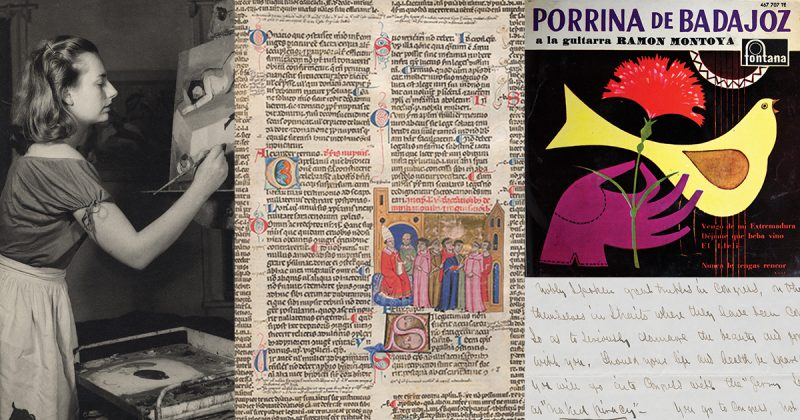 far left: black and white of young woman painting; center: old novella book from 13th century with color drawing of popes and religious leaders; top right: drawing of yellow bird and purple glove holding red carnation; bottom right: handwritten letter from Frederick Douglass to Gerrit Smith