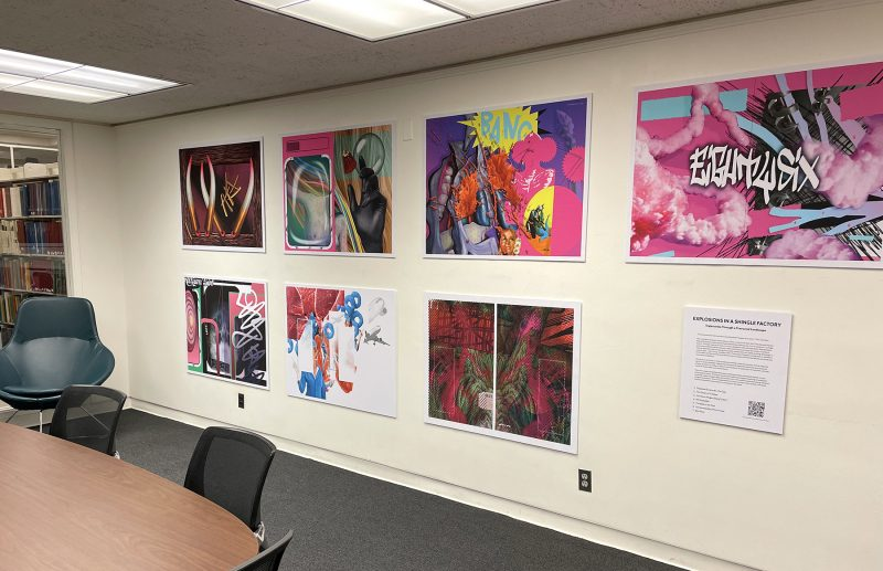 7 bright posters mounted on wall