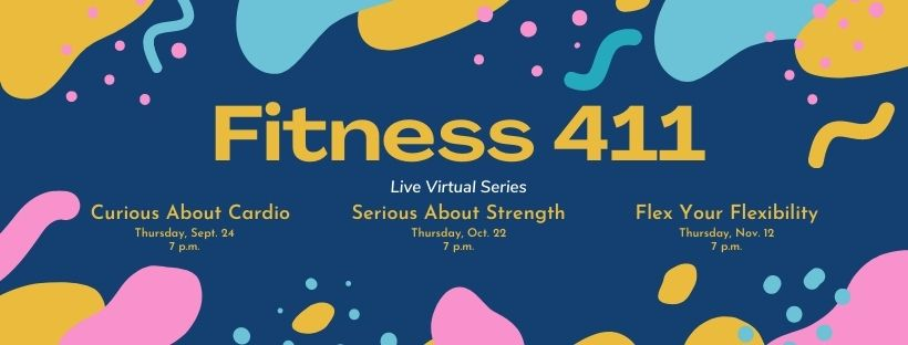 Fitness 411 live virtual series graphic with colorful confetti