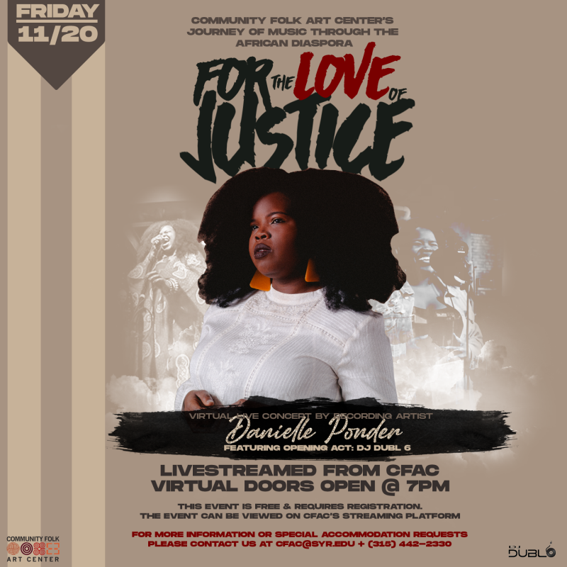 Event flyer with photo of Danielle Ponder and event details