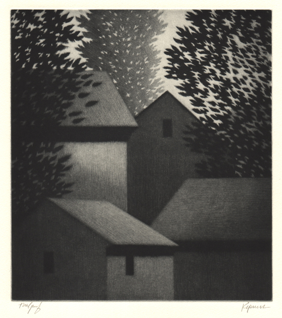 Black and white etching of two houses surrounded by trees at night
