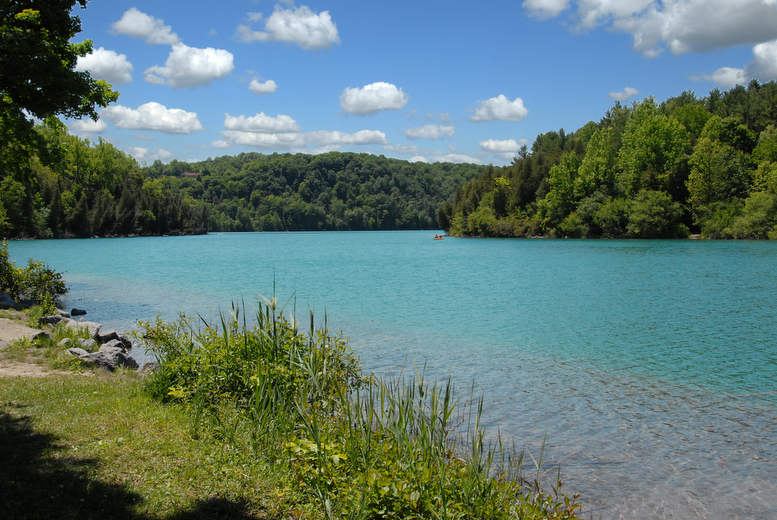 Image of a blue lake surrounded by green trees