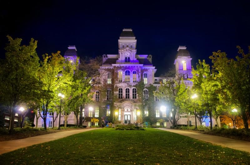 Hall of Languages at night with purple lighting