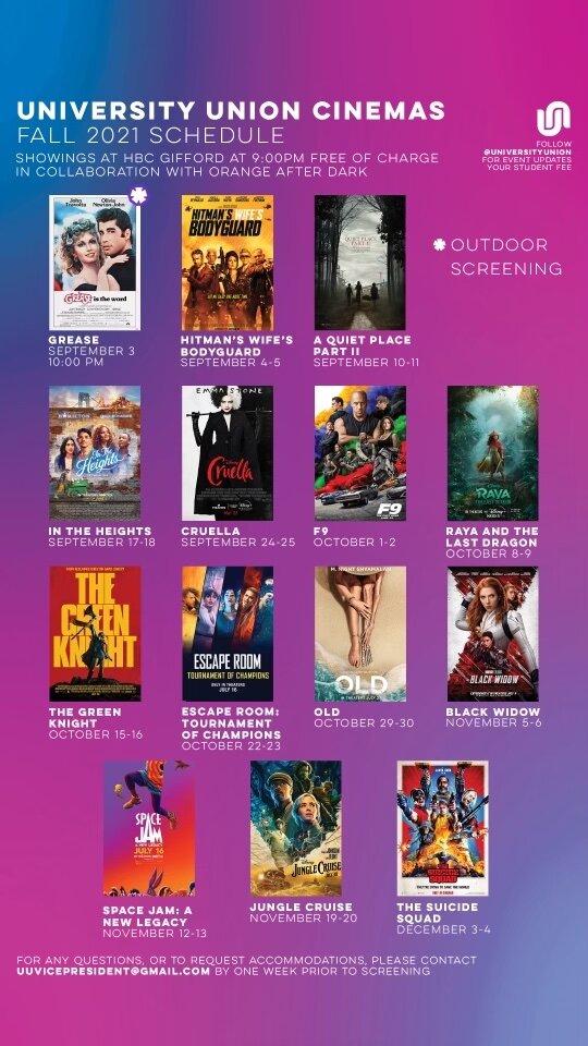 University Union Cinemas semester schedule
