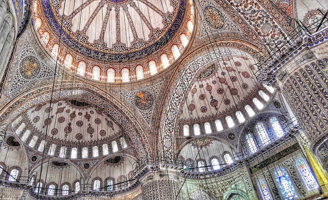 Ceiling of Blue Mosque in Istanbul, Turkey