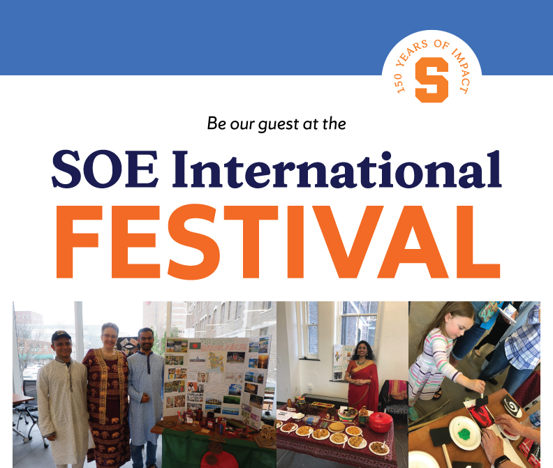 SOE International Festival, including photos of student and teacher tables from last festival