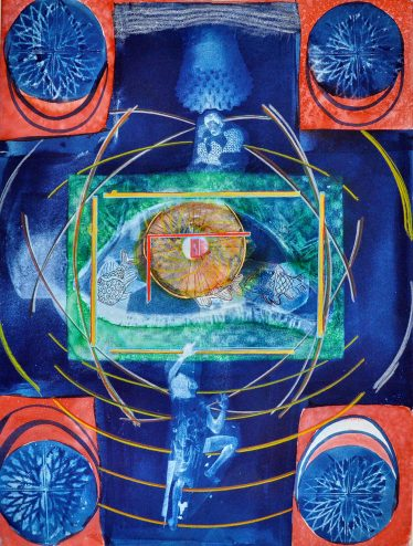 dark blue background wiht four orange squares on each corner with a blue orb inside with orb designs inside, green square in center of print with figures on either side