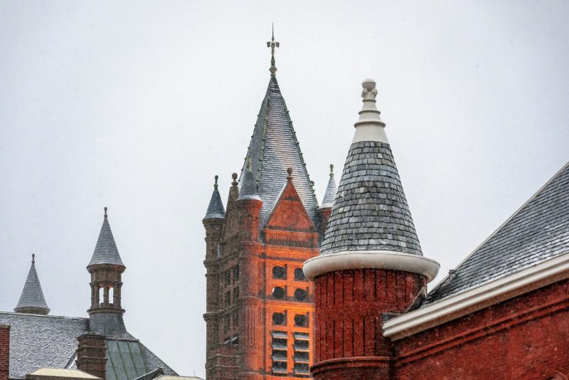 Detail of Snow Falling on Crouse College at Sunrise