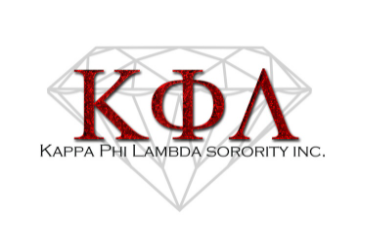 Name of the fraternity in red over a line drawing of a diamond.