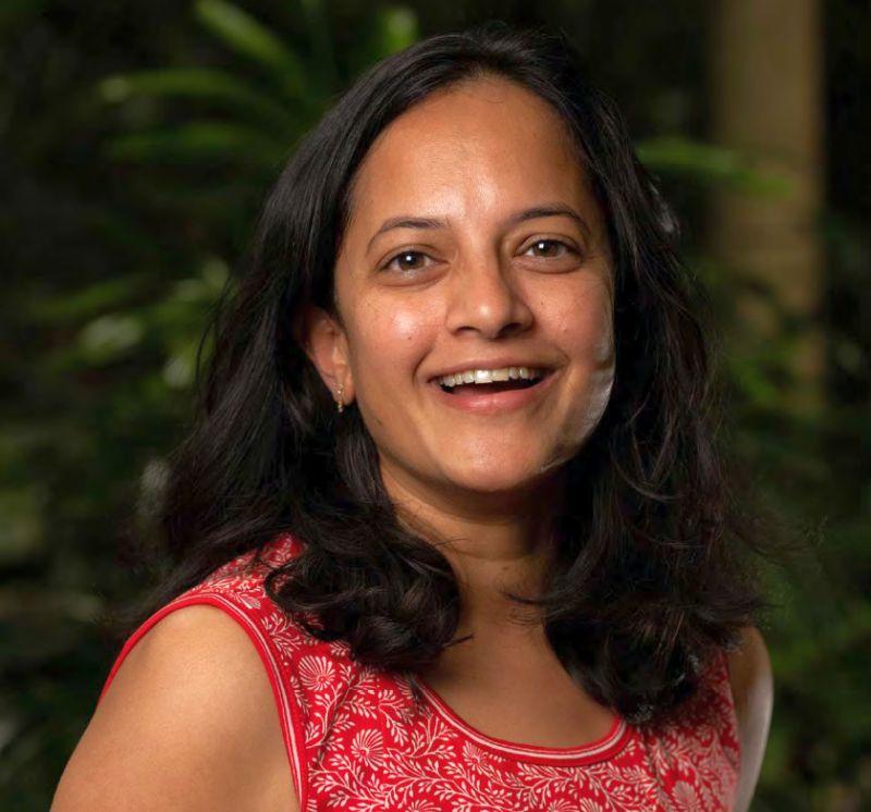 head and shoulders shot of Krithi Karanth smiling