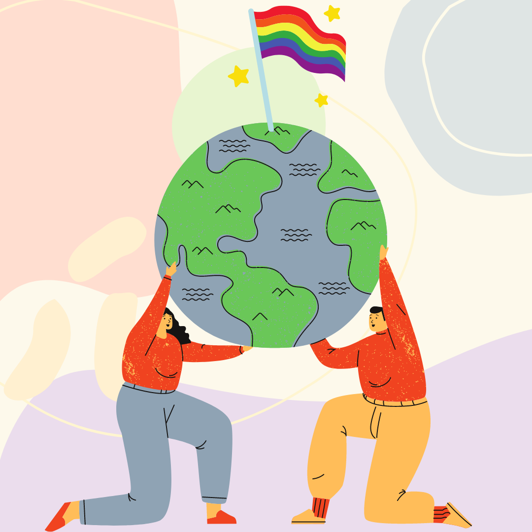 Individuals holding up a globe.