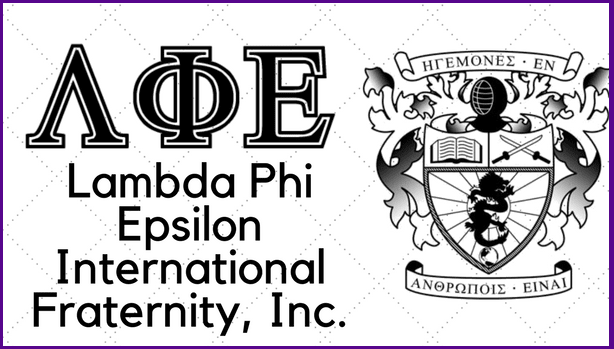 Lambda Phi Epsilon greek letters and crest