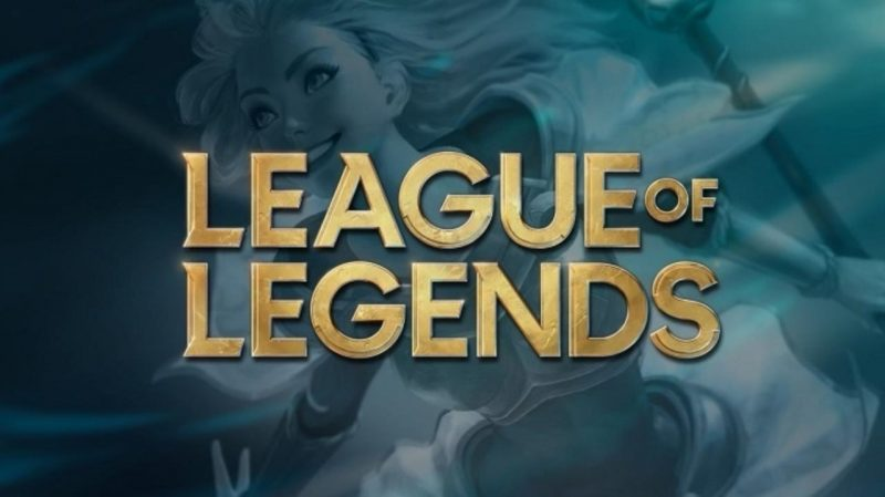 League of Legends Logo with a game character in background