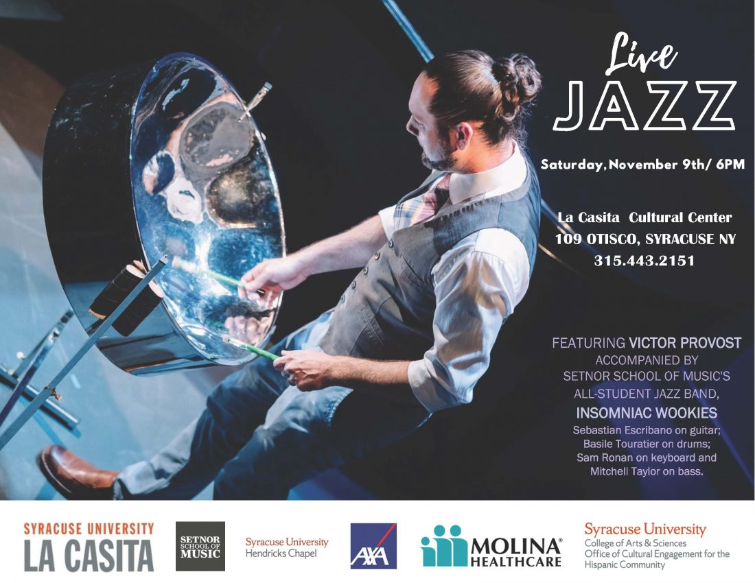 Flyer featuring Victor Provost playing a steel drum